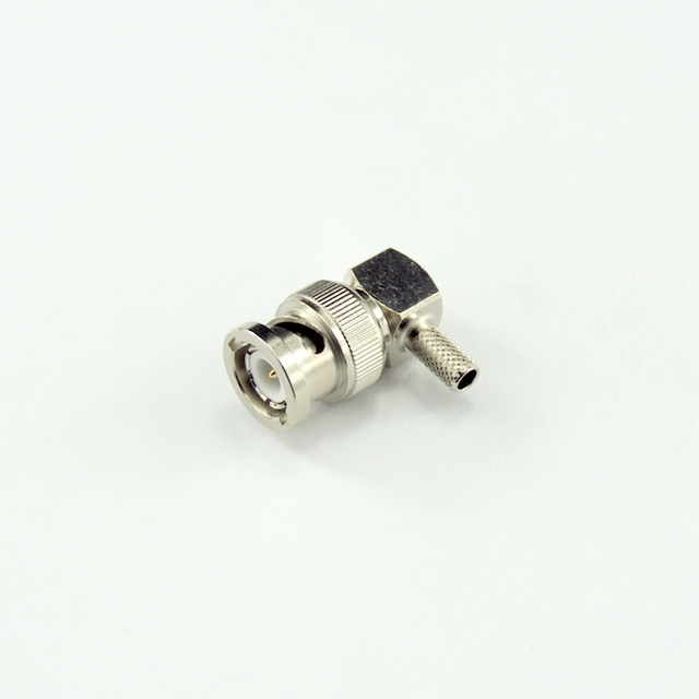 BNC plug right angle crimp connector for RG58 cable 50 ohm 5BNM11R-A00-002