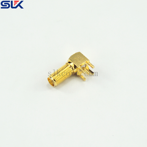 SMA jack right angle connector for pcb through hole 50 ohm 5MAF25R-P41-034