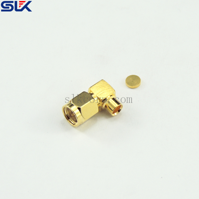 SMA plug right angle solder connector for 141 TFLEX-402 cable 50 ohm 5MAM15R-S02-044