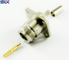 N jack straight crimp connector for TCOM-200 cable 4 holes flange 50 ohm 5NCF54S-A200-001