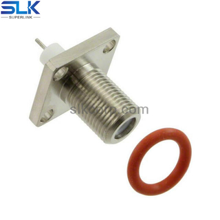 F jack straight connector 4 holes flange 75 ohm 7FCF45S-P01