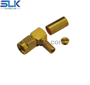 SMA plug right angle crimp connector for RG142 RG223 cable 50 ohm 5MAM11R-A09-007