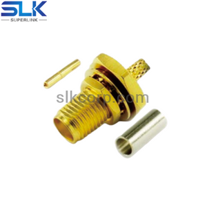 SMA jack straight solder connector for 085 086 cable bulkhead front mount 50 ohm 5MAF35S-S01-004