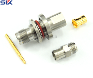 TNC jack straight solder connector for RG178/U bulkhead front mount 50 ohm 5TCF15S-A03