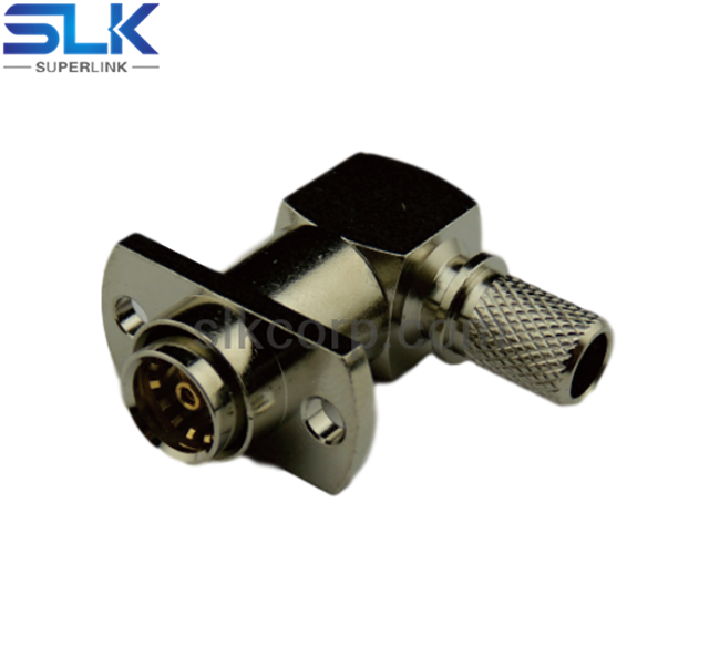 BMA female right angle crimp connector for LMR240 AMR-600 cable 2 holes flange 50 ohm 5BMF11R-A46-002